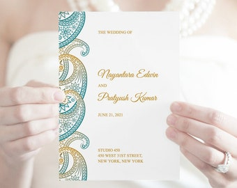 Indian Wedding Program Paisley, Teal & Gold. DIY Printable Traditional Ornament Program Template, Folded Booklet. Templett, Instant Download
