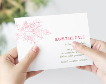 """Save the Date Card """"Leafy Branch"""" Hot Pink & Olive Green. DIY Wedding Printable Template, Fully Editable. Templett, Instant Download."""