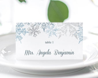 """Winter Wedding Place Card Template """"Snowflakes"""", Silver & Blue. DIY Printable Christmas Party Escort Card. Templett, Instant Download."""