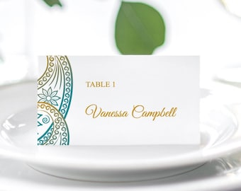 """Indian Wedding Place Card Template """"Paisley"""", Teal & Gold. Printable Traditional Mhendi Ornaments Escort Cards. Templett, Instant Download."""