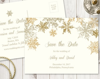Winter Wedding Save The Date Diy Printable Template Etsy