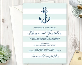 nautical wedding invitation template navy affair etsy