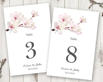 white flowers wedding table numbers template printable diy etsy
