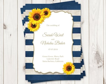 Sunflower Wedding Invitation Printable Template with Navy Blue | Etsy