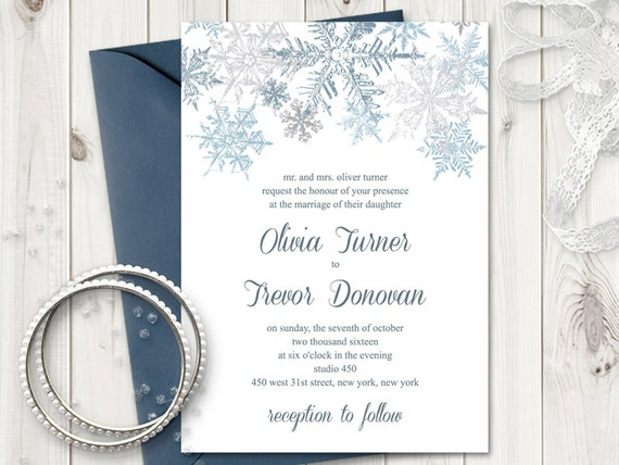 Winter Wedding Invitation Template Snowflakes Silver Blue Diy Christmas Printable Invite Template Editable Text Word Instant Download