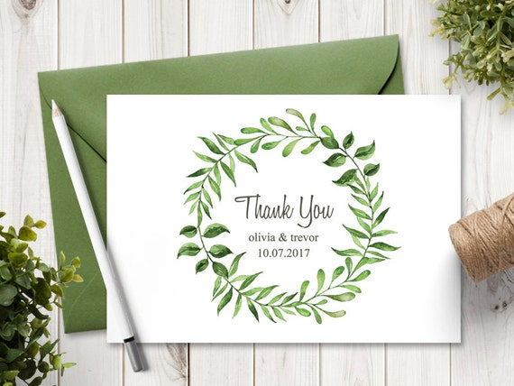 Watercolor Wreath Wedding Thank You Card Template Lovely | Etsy