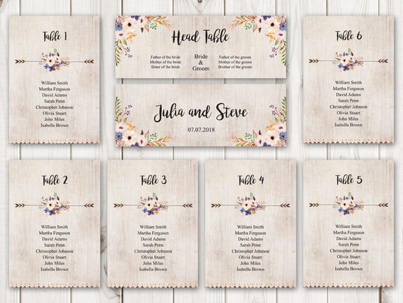 watercolor wedding seating chart template whimsical garden etsy