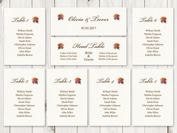 watercolor wedding seating chart template fall in etsy