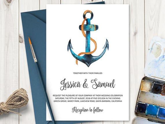 Aquarell Hochzeit Einladung Vorlage Nautische   Etsy
