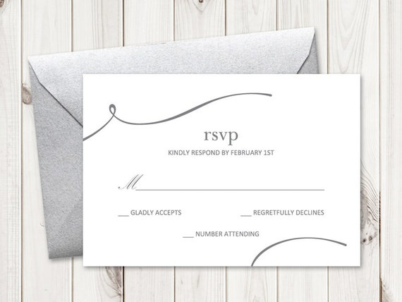 Wedding Rsvp Template.Elegant Wedding Rsvp Template Modern Matrimony Silver Diy Printable Response Card Simple Clean Editable Ms Word Instant Download