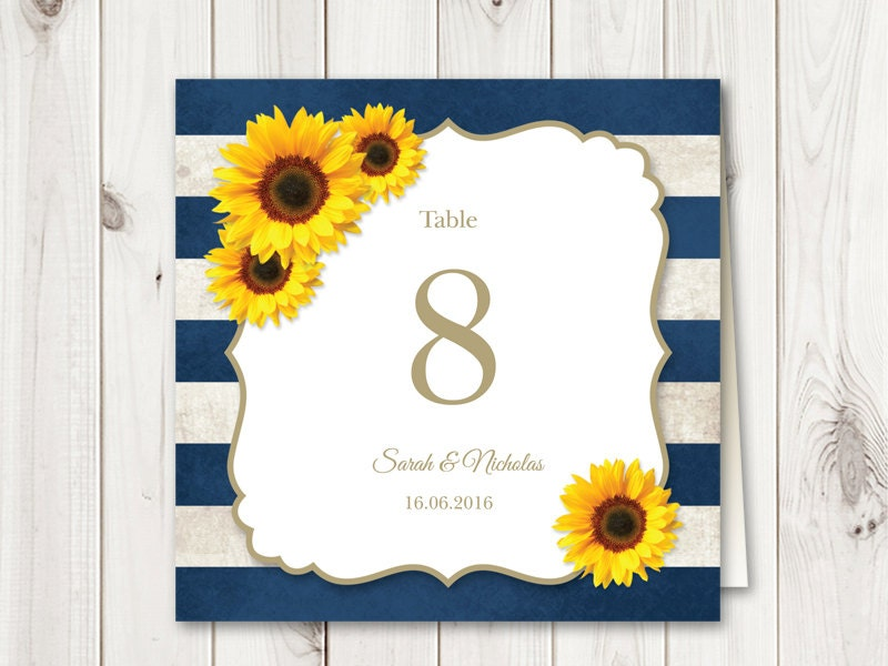 Sunflower Wedding Table Numbers Printable Template Navy Blue