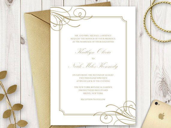 Wedding Invitation Template Classy Luxe Old Gold Elegant And Simple DIY Printable Invite Editable Text MS Word Instant Download