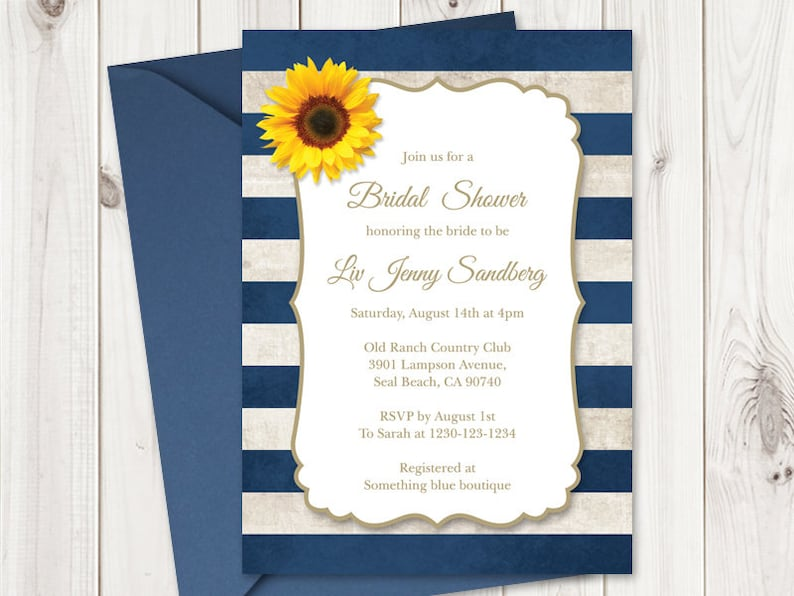 3bad03fad79d Bridal Shower Invitation Template Sunflower