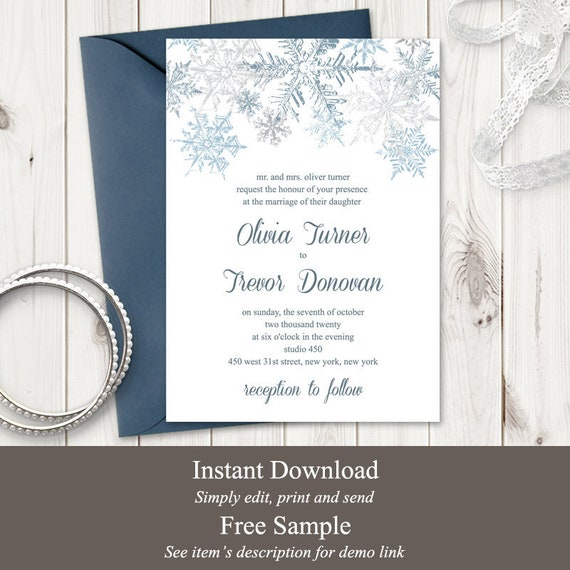 Winter Wedding Invitation Template Snowflakes Silver Blue Diy Christmas Party Printable Invite Editable Templett Instant Download