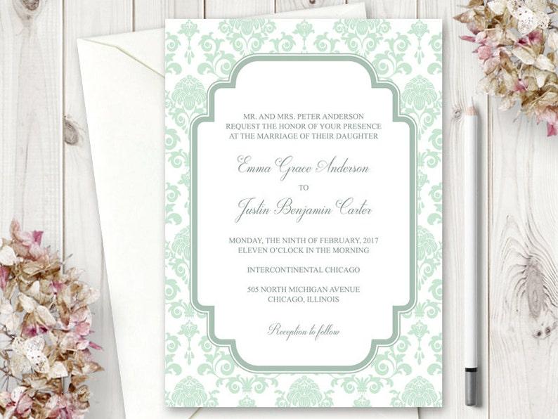 DIY Wedding Invitation Template Floral Damask In Mint Green Color Prinatble Baroque Invites Editable Text Word Digital Download