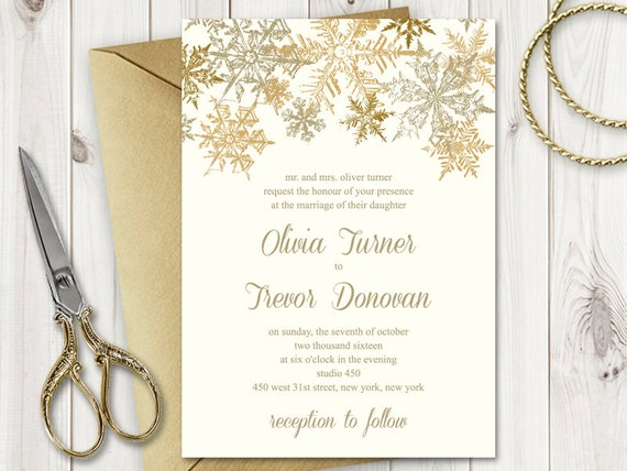 christmas wedding invitation template snowflakes etsy