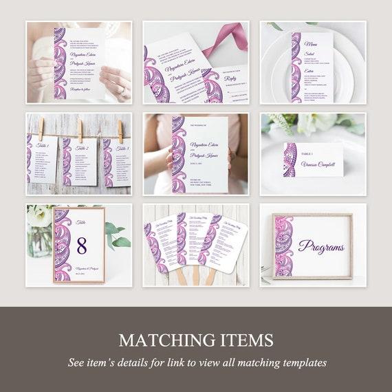 Templett Indian Wedding Invitation Set Paisley Instant Download. Purple Violet DIY Printable Traditional Mhendi Ornament Templates