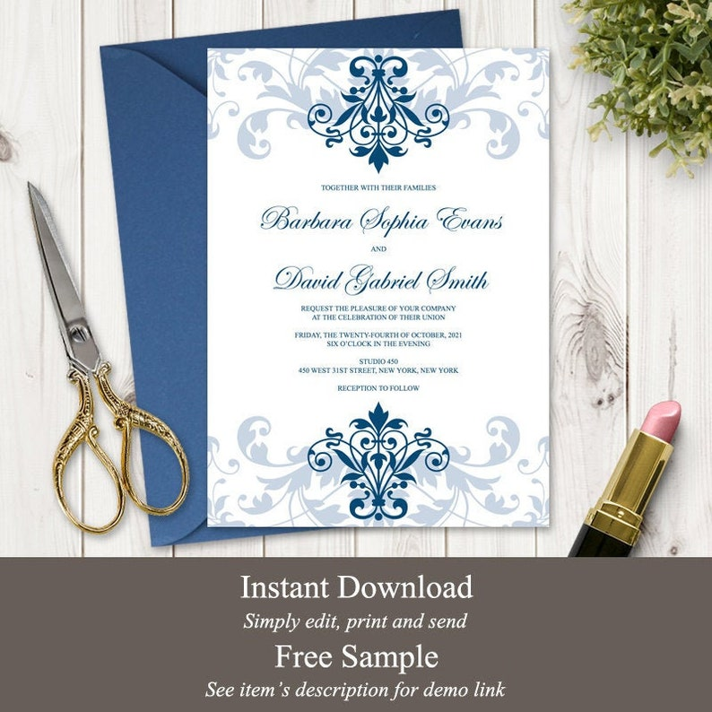 Classic Wedding Invitation Template Elegant image 0