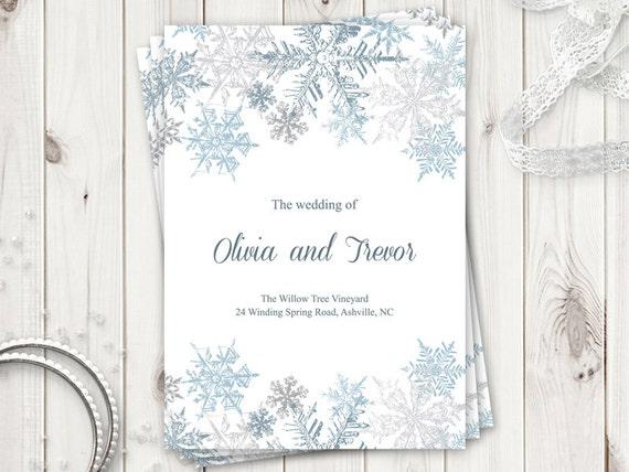 winter wedding program template snowflakes silver blue etsy
