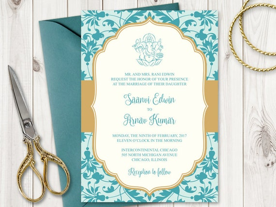 Indian Wedding Invitation Template Vibrant Etsy
