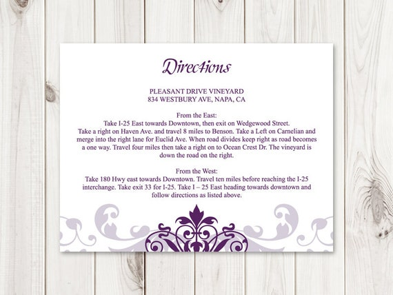 diy directions card printable wedding insert template etsy