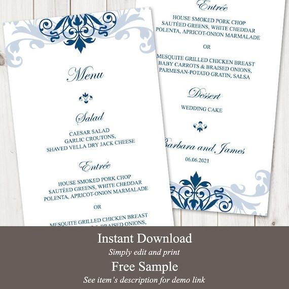 Free Wedding Menu Template from i.etsystatic.com