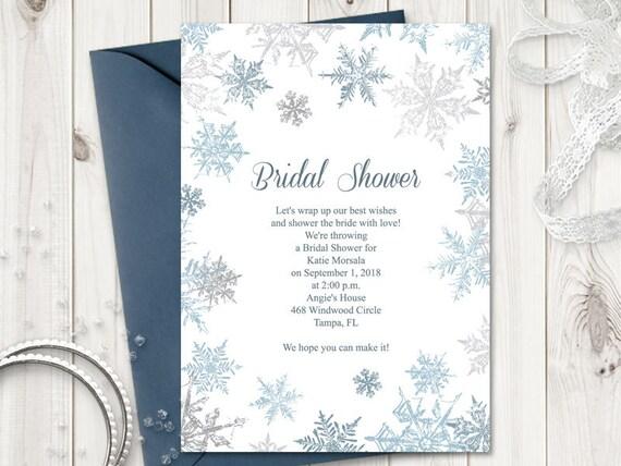 Winter Bridal Shower Invitation Template Etsy