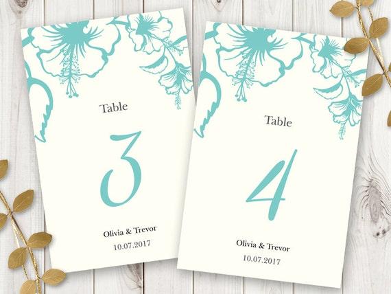 Druckbare Hochzeitstisch Zahlen Vorlage Hawaii | Etsy