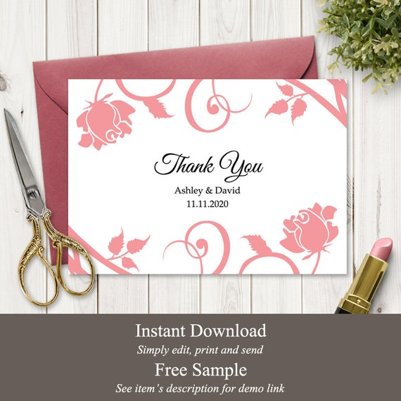 Floral Wedding Thank You Card Template Blushing Rose Blush Pink Diy Printable Thank You Note Fully Editable Templett Instant Download