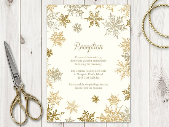 Winter Wedding Reception Card Template Snowflakes Gold Diy Christmas Cards Printable Tamplate Editable Text Ms Word Instant Download