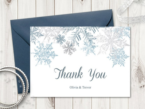 Printable Thank You Card Template Snowflakes Silver Blue. DIY | Etsy