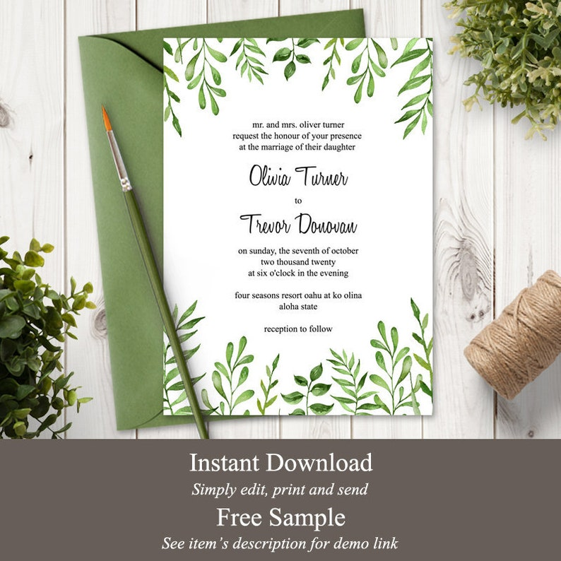 Watercolor Greenery Wedding Invitation Template Lovely image 0