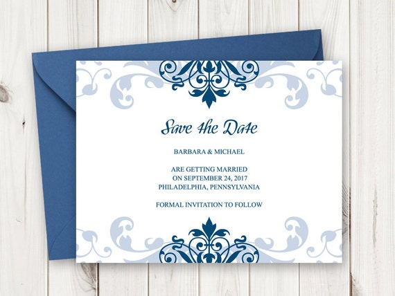 Printable Save The Date Card Diy Wedding Save The Date Card Etsy