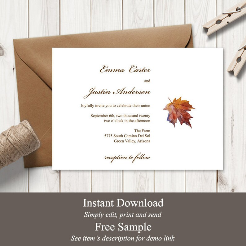 Wedding Invitation Template Fall in Love Brown. image 0