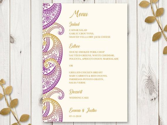 Paisley-buddhist-hindu wedding menu cards,indian menu card designs.