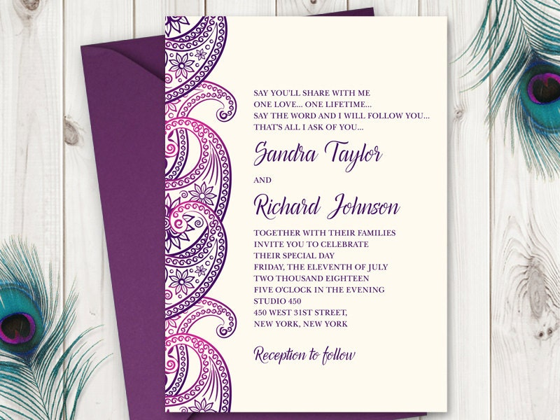 Diy Wedding Invitation Paisley In Purple And Etsy