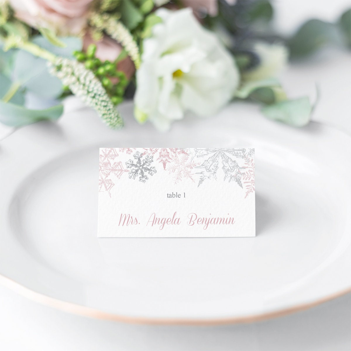 Winter Wedding Place Card Template Snowflakes  Etsy Pertaining To Christmas Table Place Cards Template