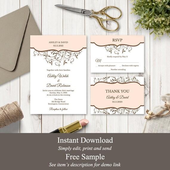 RSVP cartes Poème Cartes Informations et cartes Mariage//Soirée invitation Set