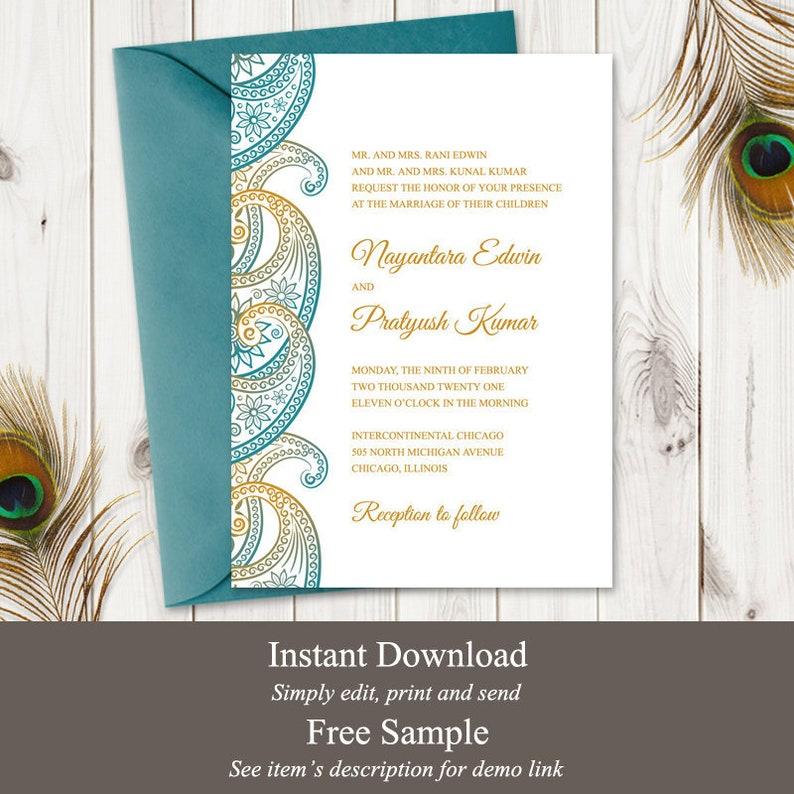 Indian Wedding Invitation Template Paisley Teal & image 0