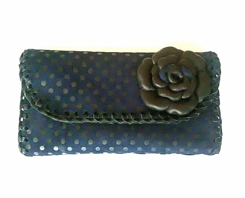 Unique wallet Leather wallet with flowers Polka dot wallet Leather wallet Gift for her Leather pouche. Handmade wallet Wedding wallet