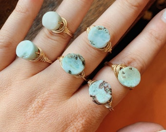 Larimar Wire Wrapped Ring