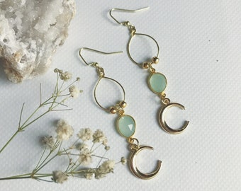 Chalcedony Moon Earrings