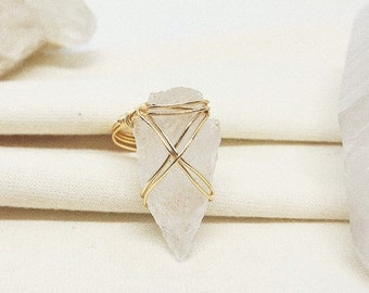 Arrowhead Quartz Wire Wrapped Ring