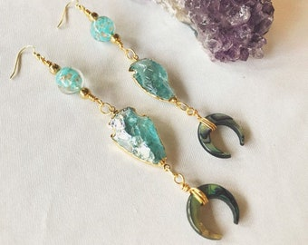 Aquamarine Arrowhead Earrings