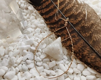 White Druzy Drop Necklace