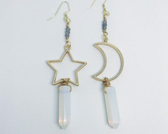Mystical Moon & Star Opalite Earrings