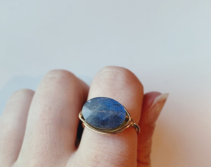 Featured listing image: Faceted Labradorite Ring