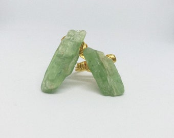 Green Kyanite Raw Gemstone Ring