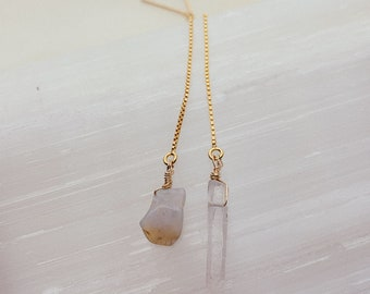 Raw Opal + Quartz Threaders