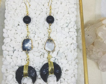 Onyx Crescent Earrings